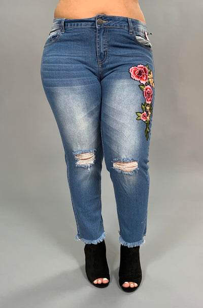 BT-R Distressed Denim Cropped Frayed Jeans with Floral Patch PLUS SIZE SALE!!