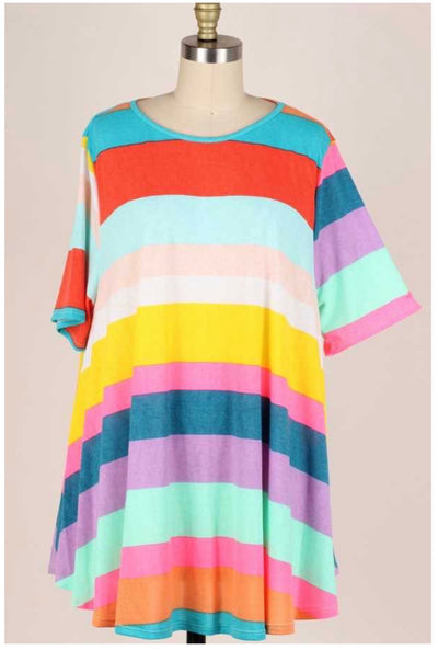 54 PSS-R (Abundant Stripes} Mint Purple Large Striped Tunic EXTENDED PLUS SIZE 3X 4X 5X