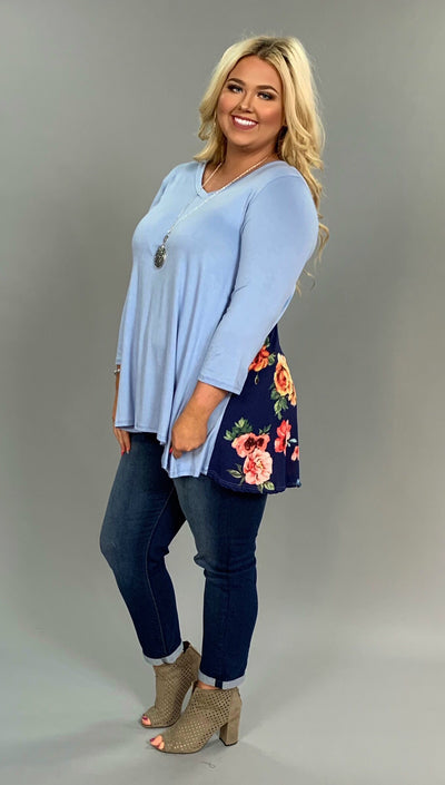 CP-U {Without A Doubt} Blue V-Neck Top with Floral Contrast FLASH SALE!!