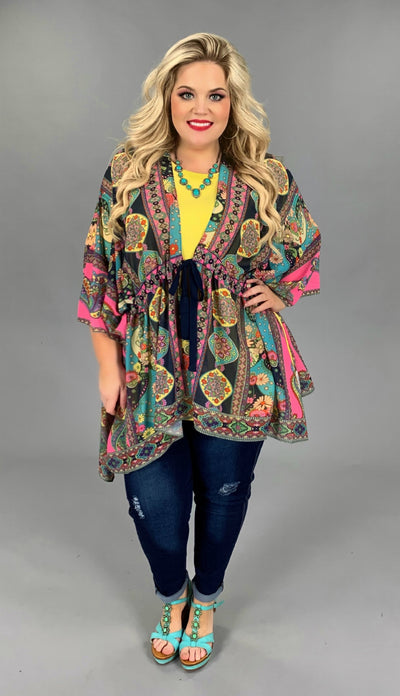 "OT-E {Friday Night Date} ""UMGEE"" Sheer Multi Print Kimono PLUS SIZE XL 1X 2X SALE!!"