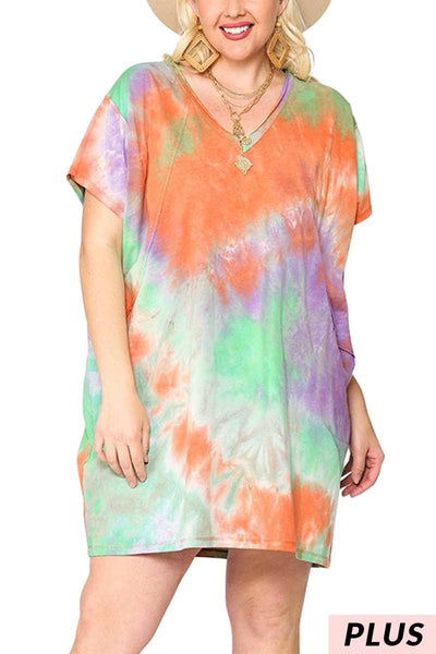 65 PSS-P {Dearest Friend}  Mint Orange Tie Dye Tunic PLUS SIZE XL 1X 2X