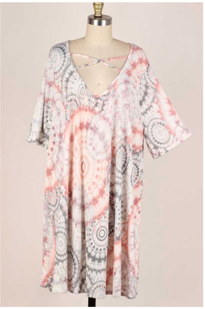 47 PSS-C {Circling You} Pink and Grey Dress EXTENDED PLUS SIZE 3X 4X 5X