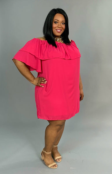 OS-i Fuchsia Off-Shoulder Cocktail Dress with Lining