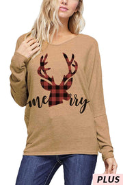 25 GT-C {Merry}  SALE!! Camel Red Plaid Deer Top PLUS SIZE XL 2X 3X