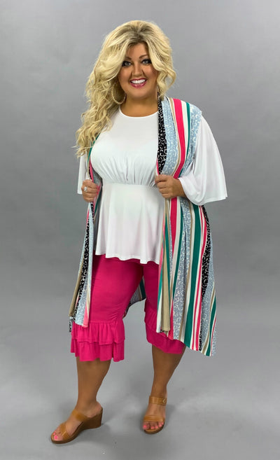 OT-S {Summer Solstice} Pink/Jade/Black Multi-Stripe Design Vest PLUS SIZE 1X 2X 3X SALE!!