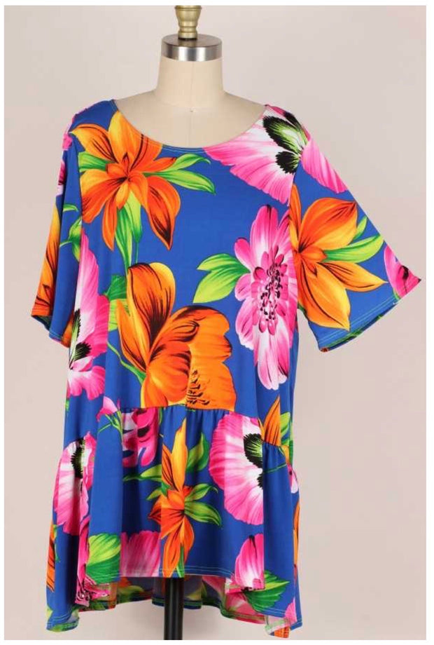 54 PSS-L {Sight to Behold} Large Flowers on Blue Tunic EXTENDED PLUS 3X 4X 5X