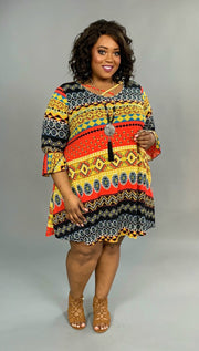 PQ-W Red/Gold Ethnic Print Dress with Criss-Cross Detail SALE!!