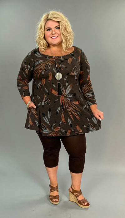 "PLS-P ""Lovely J"" Brown Stretchy Knit Tunic with Feather Print SALE!!"