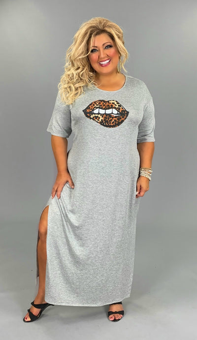 LD-Z {Once Bitten} Gray Maxi Dress w/ Leopard Lip Design  PLUS SIZE 1X 2X 3X