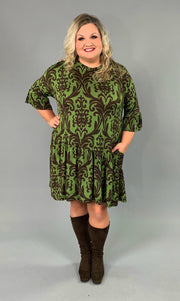 PQ-T {Exquisite Taste} Green/Brown Damask Print Dress Extended Plus