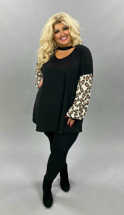 10-31 CP-D {Smart Move} Black Animal Bar Neck Tunic CURVY BRAND EXTENDED PLUS SIZE 3X 4X 5X 6X
