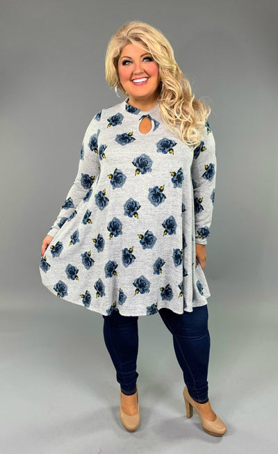 PLS-U {Make A Memory} Gray/Blue Floral Tunic or Dress