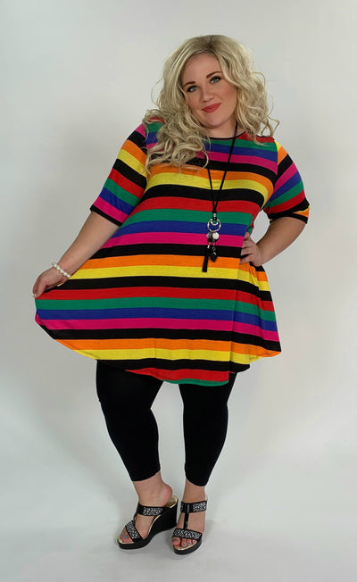 PSS-O {Living The Good Life} Multi Striped Tunic with Pockets Extended Plus