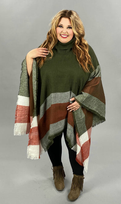 37 OT-A {Doing The Most} SALE!!  Olive Rust Poncho ONE SIZE