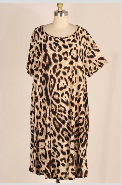 PSS-L {Empower Your Wild Side} Leopard Dress EXTENDED PLUS SIZE 3X 4X 5X