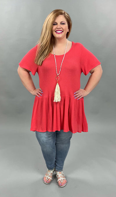 62 SSS-B {Stories Of Us) Coral Waffle-Knit Tunic PLUS SIZE XL 2X 3X