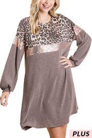 CP-P {Take Charge} Leopard Rose Gold Sequin Sweater Dress PLUS SIZE XL 2X 3X