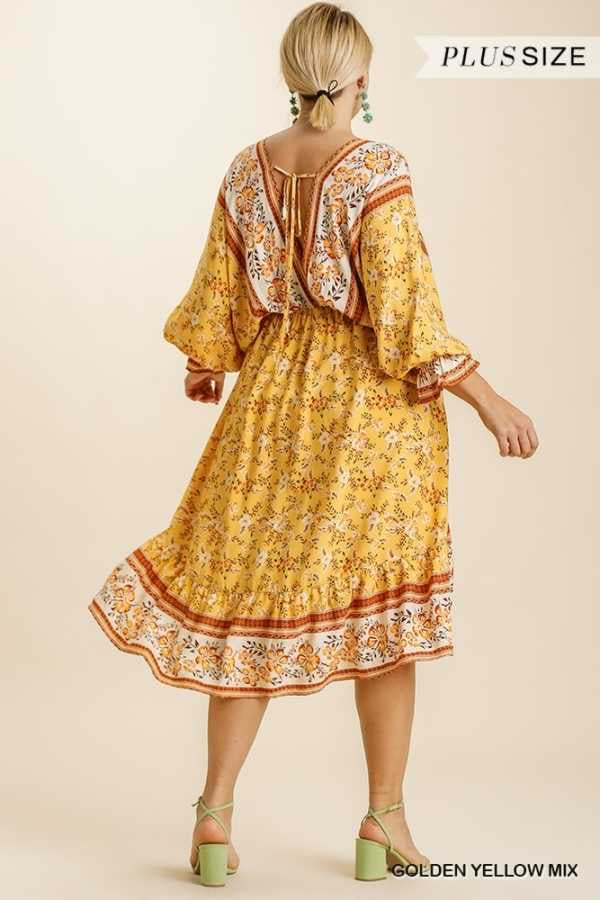 65 PSS-O {Cabo Cruise} UMGEE Yellow Floral PLUS SIZE XL 1X 2X