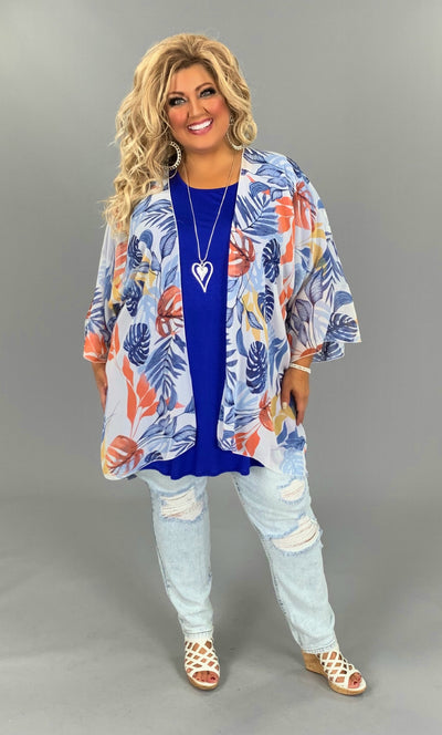 OT-M {Palm Beach} Sheer Blue/Orange/Yellow Cardigan PLUS SIZE 1X 2X 3X SALE!!