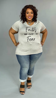 GT-G {Faith Over Fear} Gray V-Neck Graphic Tee