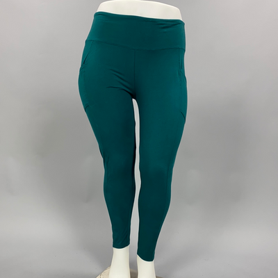 LEG-27 {Get It Done} Dark Green Cotton Leggings W/Pockets PLUS SIZE XL 2X 3X