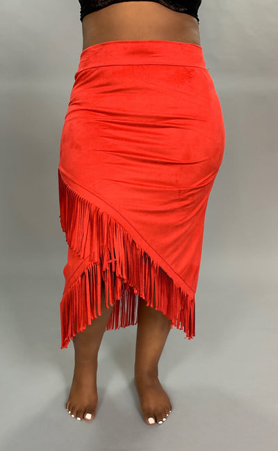 BT-R Red Suede Skirt with Fringe Detail SALE!