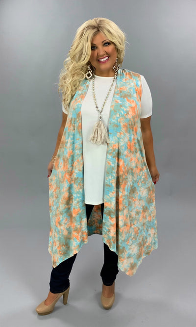 OT-A {Peace & Serenity} LIght Blue & Orange Watercolor Vest PLUS SIZE 1X 2X 3X
