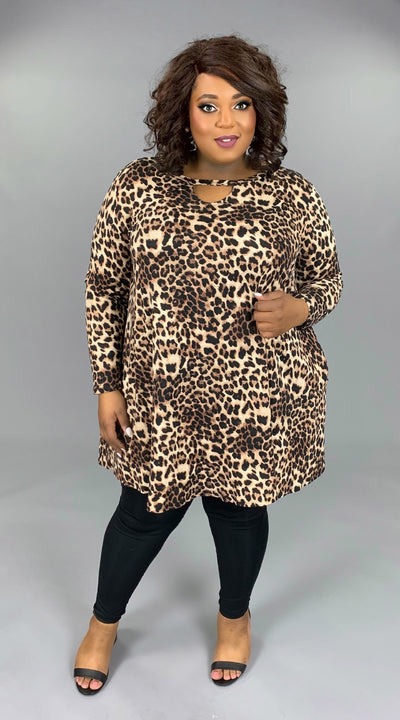 PLS-B ( Boldest Babe) Leopard Printed Dress With Keyhole Detail EXTENDED PLUS SIZE 3X 4X 5X 6X SALE!!