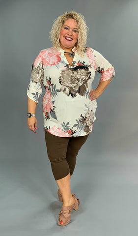 PQ-F {Welcome Home} Ivory/Peach Floral Stretchy V-Neck Top