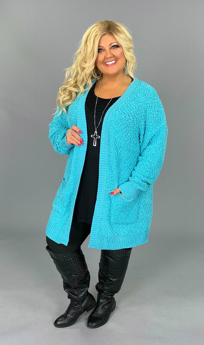 OT-H {Treat You Better} Ash Mint Popcorn Sweater Cardigan with Pockets SALE!!