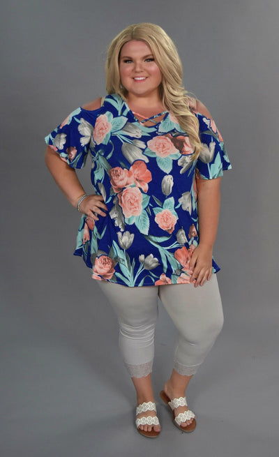 OS-A {Blooming Season} Blue/Peach Floral Tunic
