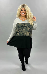 32 CP-B {Hidden Well} Grey Green Camo Black Cross Neck Tunic CURVY BRAND EXTENDED PLUS SIZE 3X 4X 5X 6X
