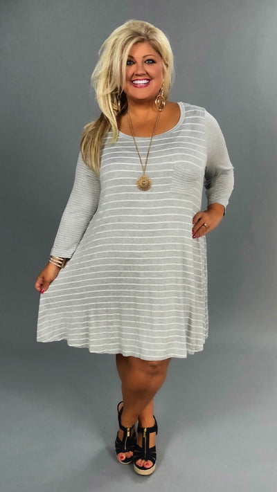 CP-E/Q {Simple Beauty} Extended Plus Gray Striped Dress  SALE!!