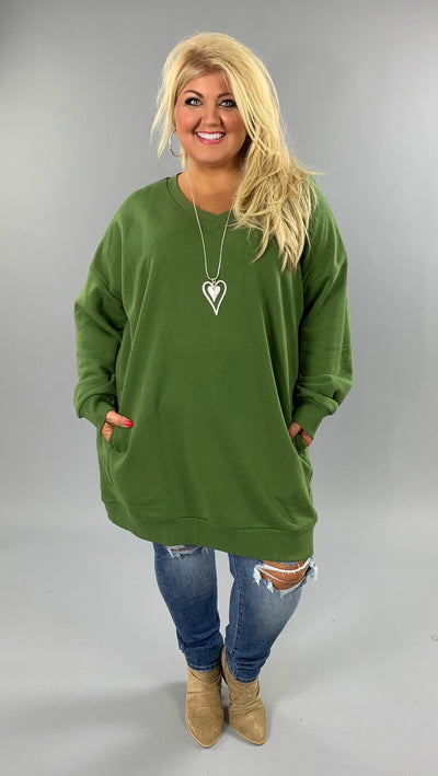 SLS-K {Just Perfect} OLIVE V-Neck Long Sweatshirt Pockets