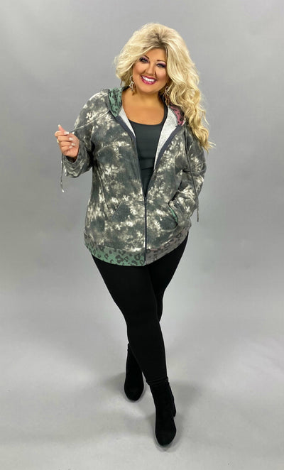 11-14 HD-A {Your Choice} Grey Colored Leopard Zip Up PLUS SIZE XL 2X 3X