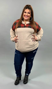 CP-M {Keep You Cozy} Fleece Beige/Red Plaid Zip Hoodie SALE!! PLUS SIZE 1X 2X 3X