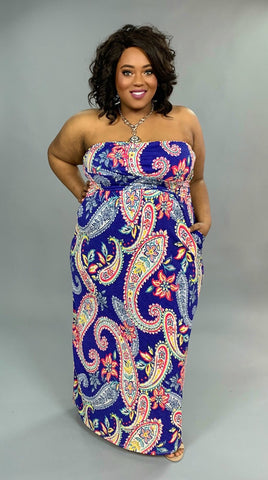 LD-D {Endless Summer} Blue Paisley Print Strapless Maxi Dress
