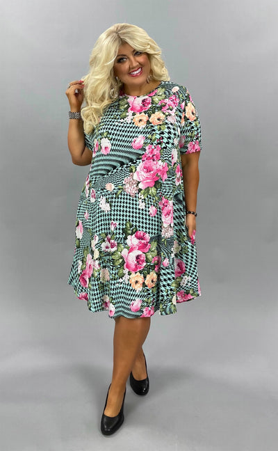 45 PSS-F {Good Lovin'} Mint Houndstooth/Floral Print Dress Extended Plus 3X 4X 5X