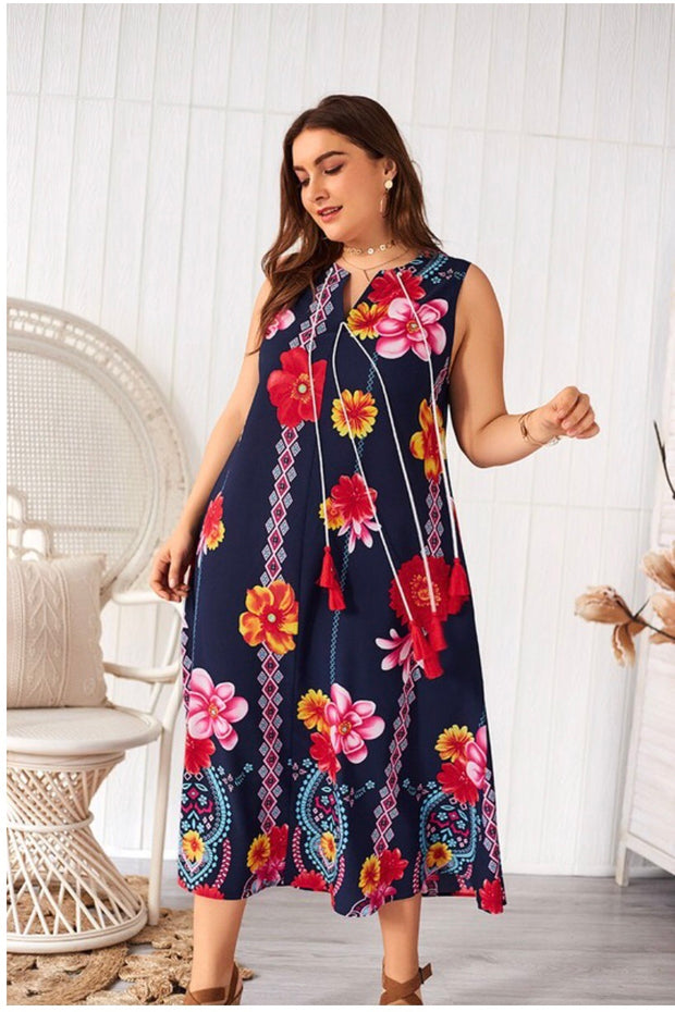 LD-C {Jazzy Spirit} Navy Floral Sleeveless Maxi Dress Extended Plus
