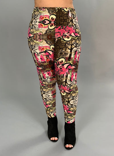 GT/N-{Extended Plus} Fuchsia/Multi Graffiti Print Leggings