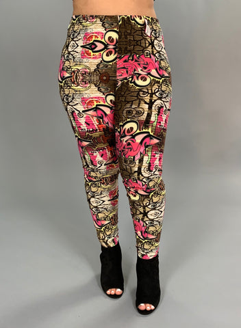 LEG/K-{Extended Plus} Fuchsia/Multi Graffiti Print Leggings