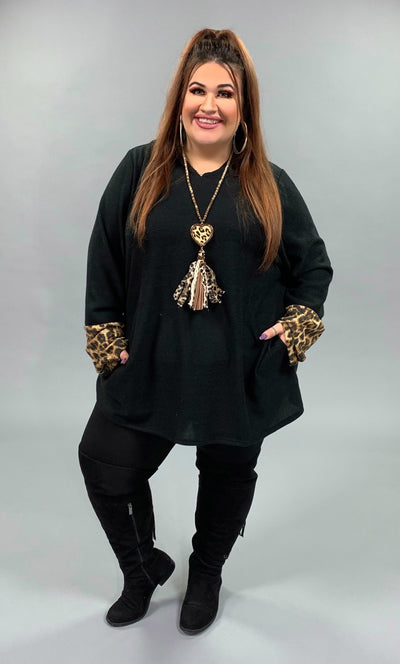 HD-G {Come Along} Black Hoodie with Gold Leopard Contrast Extended Plus