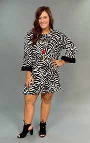 PQ-D {Can't Be Tamed} Zebra Print Dress with Ruffle Sleeves
