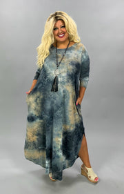 LD-X {Feel Ambitious}  SALE!! Grey Tan Tie Dye Long Sleeve Maxi Dress PLUS SIZE 1X 2X 3X