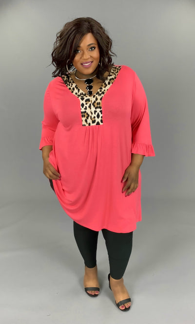 CP-M (Wild About You) Coral Dress With Leopard Contrast EXTENDED PLUS 3X 4X 5X 6X