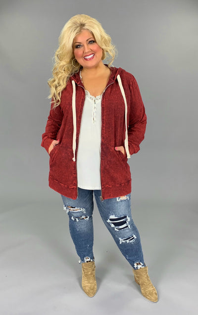 HD-M {Worth The Wait} Cabernet Mineral Wash Hoodie Jacket SALE!!