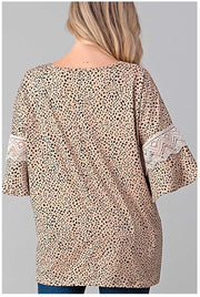 PQ-K {Sophisticated Look} Tan Animal Print Tunic Sleeve Detail PLUS SIZE 1X 2X 3X