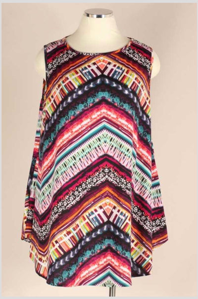 SV-Y {Feels Like Forever} Multi Print Sleeveless Tunic EXTENDED PLUS SIZE 3X 4X 5X
