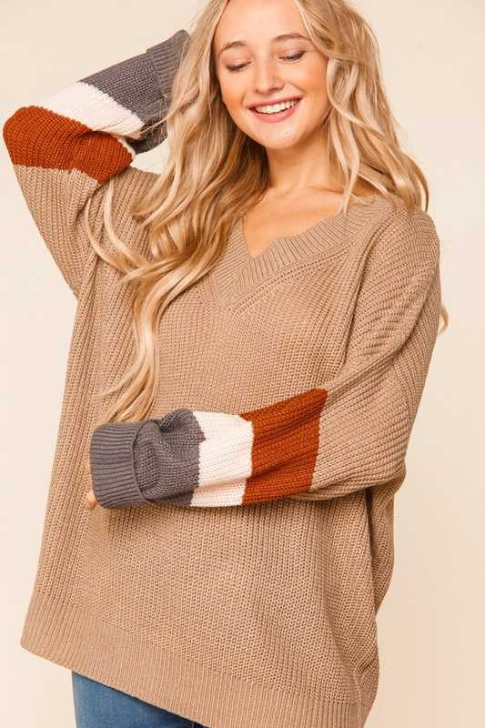23 CP-N {Running Hot} SALE!!  Mocha Colored Sleeve Sweater PLUS SIZE XL 2X 3X