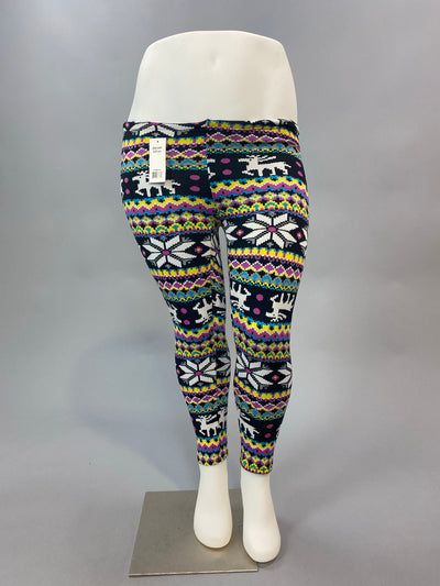 GT/V Elderberry/Daisy Reindeer Printed Fleece Lined Leggings